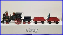 1880's FIVE PIECE CAST IRON FLOOR TRAIN with STEAM LOCOMOTIVE By FRANCIS CARPENTER