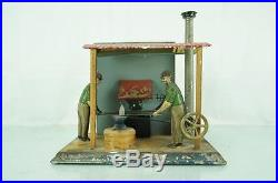 1900'S VINTAGE BLACK SMITH GERMAN STEAM ENGINE TIN TOY HOUSE BING GUNTHERMANN