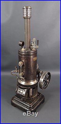 1910 Antique German Marklin Vertical Live Steam Engine Model 7 1/2 Tin Toy Large