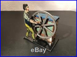 1920's Germany Bing Lithographed Tin Steam Engine Toy Man at Pump Organ Grinder