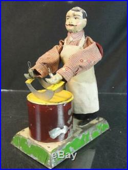 1920s Schoenner Live Steam Engine Articulated Tin German Butcher Toy 8 Tall