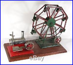 1930's EMPIRE HORIZONTAL STEAM ENGINE WITH LARGE EMPIRE FERRIS WHEEL STEAM TOY