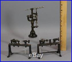 3 Antique Cast Iron Steam Engine Machinist Woodworking Tools Drill Press & Lathe