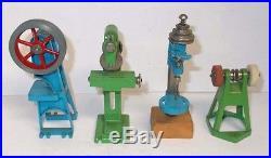 4 Vintage AHI Miniature Steam Engine Accessories, Drill, Punch, Saw, Grinder