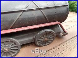 Antique 30's Cor-cor Pressed Steel Steam Engine Tender Toy Ride Push Toy