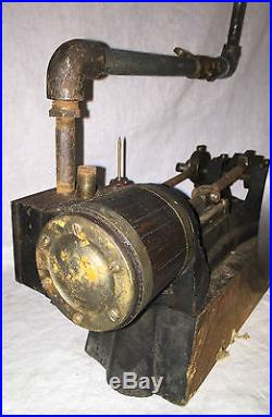 ANTIQUE L-S STEAM ENGINE EARLY WOOD BOILER CAST IRON MODEL TOY TOOL UNUSUAL RARE
