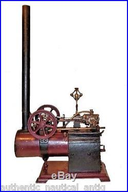Antique Stationary Steam Engine Horizontal Boiler Tall Stack Model