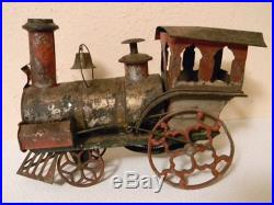 ANTIQUE VICTORIAN WIND-UP STEAM ENGINE TRAIN EARLY TIN TOY 12 LONG 8 1/2 TALL