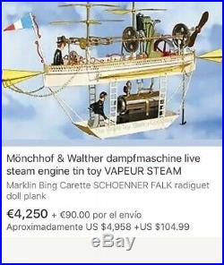 Airplane Tucher & Walther T 461, Live Steam, Steam Engine, Tin Toys Germany, video