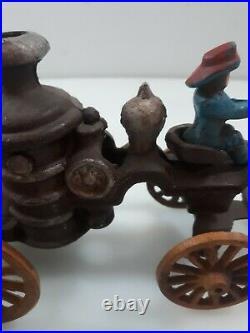 Antique 12 Cast Iron Horse Drawn Fire Engine Steam Pumper Wagon Hubley Kenton