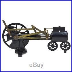 Antique 19TH C. CAST IRON & BRASS STEAM ENGINE DEMONSTRATOR flywheel working