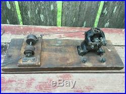 Antique AJAX Cast Iron Erector Steam Engine Motor & Pulleys e. 1900's on Board