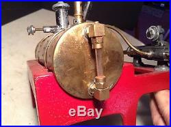Antique Circa 1900 Horizontal Toy Steam Engine Red Cast Base Brass Boiler-Nice