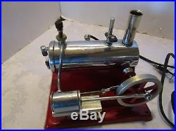Antique EMPIRE HORIZONTAL #45 ELECTRIC TOY STEAM ENGINE RED WORKING