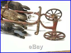 Antique Early 3 Horses Cast Iron for Carriage Wagon Steam Pumper Fire Engine Toy