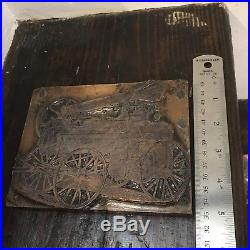 Antique Lane's Hart Printing Block Stamp Paxton Steam Engine Industrial Rustic