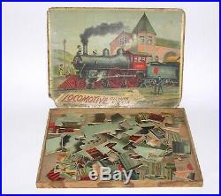 Antique McLoughlin Bros 1901 Steam Engine Train Jigsaw Puzzle +BOX (DAKOTApaul)