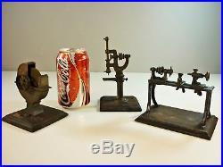 Antique Miniature Toy Steam Engine Accessories 3 Rare Tools Lathe Grinder Punch