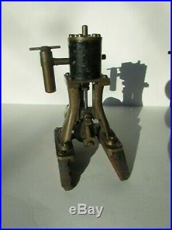 Antique Salesman Sample Vertical Steam Engine Mounted on Wood Base MOVES WORKS