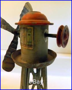 Antique Steam Engine Toy Tin Litho Windmill Accessory 9 Tall Germany c1910s
