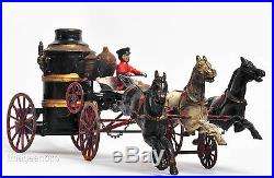 Antique Steam Pumper Fire Engine Toy Cast Iron Carriage Wagon 3 Horses withDriver©