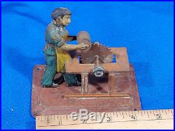 Antique Tin Toy Man Table Saw Steam Engine Cutting Log Woodworking VTG Old Rare