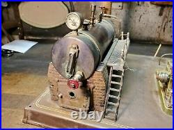 Antique Toy Steam Engine and Boiler Rough Restoration Project large Base 15 X 13