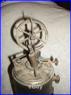Antique Vertical Steam Engine Germany UNKNOWN MAKER PARTS REPAIR LOT STEAMPUNK