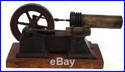 Antique Victorian Steam Engine Model Cast Iron Brass Wood 1800's #496