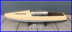 Antique Vintage Bowman Snipe Live Steam Engine Wooden Toy Speed Boat