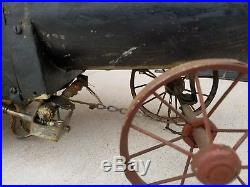 Antique toy tractor case steam engine folk art toy thresher farm agriculture