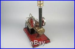 Big vintage DOLL D&C locomobile live steam engine, prewar tin toy 11 1/2in