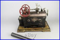 Big vintage VEDES locomobile live steam engine, prewar tin toy 12 1/2in