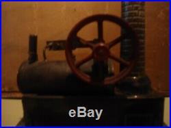 C. 1890 toy steam engine/ original burner funnel and stack. Nice original