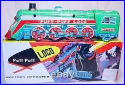 China ME-660 STREAMLINED STEAM LOCOMOTIVE Batt. Op. Tin Toy Train MIB`78 RARE