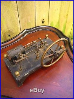 Curious Antique 1890s Scratch Built Live Steam Engine Toy with Flowers & Box