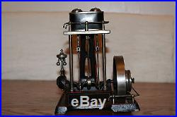 DOLL & CO. EARLY 20's TWIN CYLINDER VERTICAL LIVE STEAM ENGINE DRGM