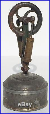 EARLY Toy Steam Engine Parts Cast Iron Vertical Flywheel & Tin Alcohol Burner