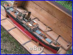 Gigantic Antique 29 Tin Steam Engine Powered Ship Toy Boat & Wooden Box