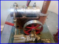 Jensen MFG Co Steam Engine #60, Vintage toy Pulley Saw