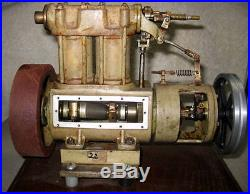 LARGE ANTIQUE, DUAL CYCLINDER STEAM ENGINE WITH WILESCO POWER TRANSFER STAND