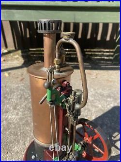 Large Live Steam Unidentified Vertical Stationary Engine Model Toy Vintage