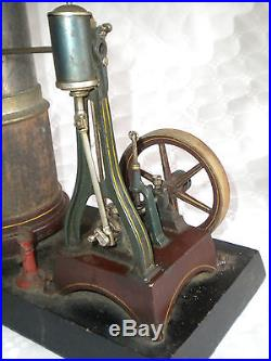 Large vintage Carette Live steam engine vertical type early 1900s to restore