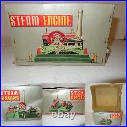 Linemar Japan STEAM ENGINE Toy with 5 Operative Accessories J-2374R Repaired