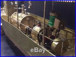 Live Steam Engine Brass Model Pond Boat Ship Yacht Vintage Folk Art LARGE Toy