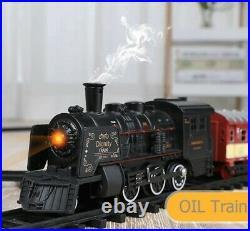 Luxury Electric Railway Train Tracks Set Lights Steam Engine Kids Toy Gift