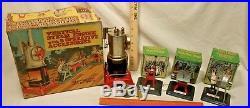 MARX VERTICAL STEAM ENGINE + 3 PIECE ACCESSORIES TIN TOY SET BOXED 1950s sharp