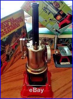 Marx Vertical Steam Engine with 3 Operative Accessories 1950-60 era