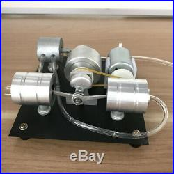 Mini Steam Engine Model Toy with Boiler Twin Cylinder Steam Engine Micro Motor Toy
