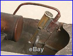 OLD TIN TOY LIVE STEAM ENGINE POWERED BOAT EARLY 1900's